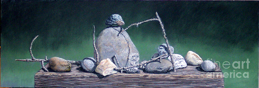 Still Life Painting - Sticks And Stones by David Francis