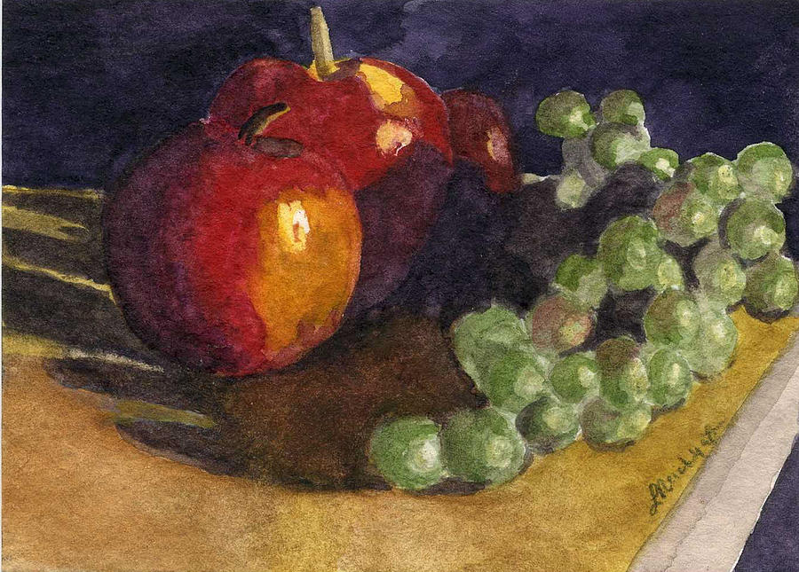 Watercolor Painting - Still Apples by Lynne Reichhart