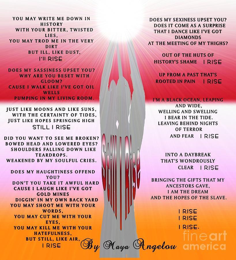 Poem Painting - Still I Rise by Belinda Threeths