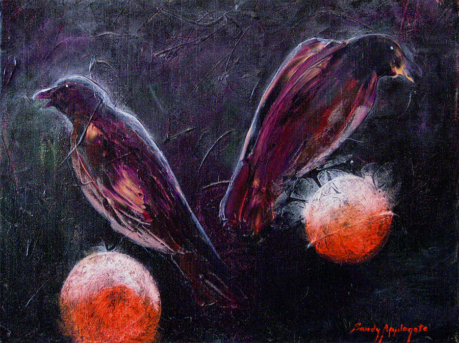 Raven Painting - Still Is Sitting by Sandy Applegate