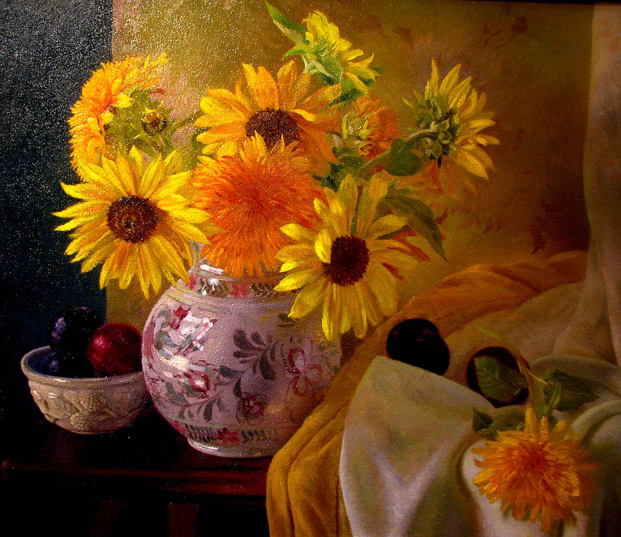 Still Life Painting - Still Life - With Sunflowers by Ron Johnston
