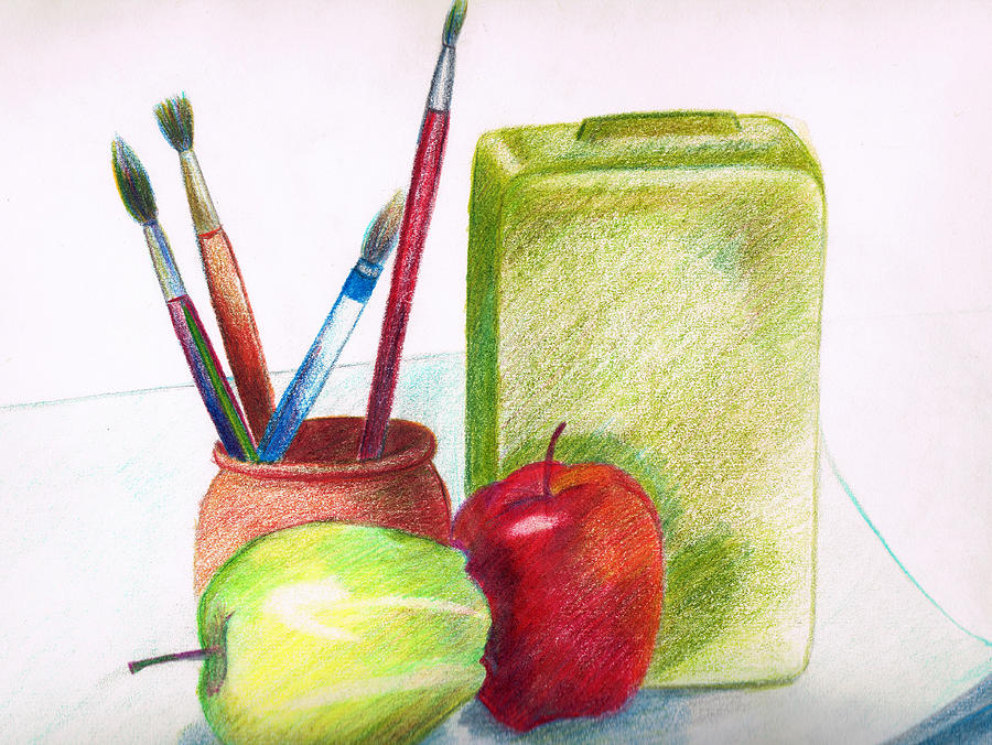 Apple Painting - Still Life 2 by Zara GDezfuli