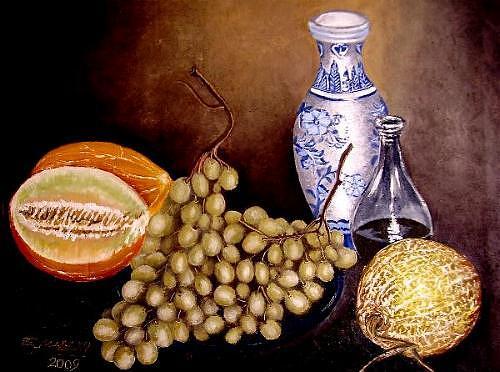 Morocco Painting - Still Life 6 by Elmadani Belmadani