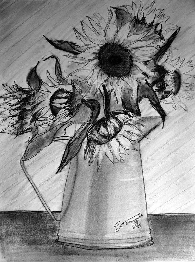 Still Life - 6 Sunflowers In A Jug Drawing