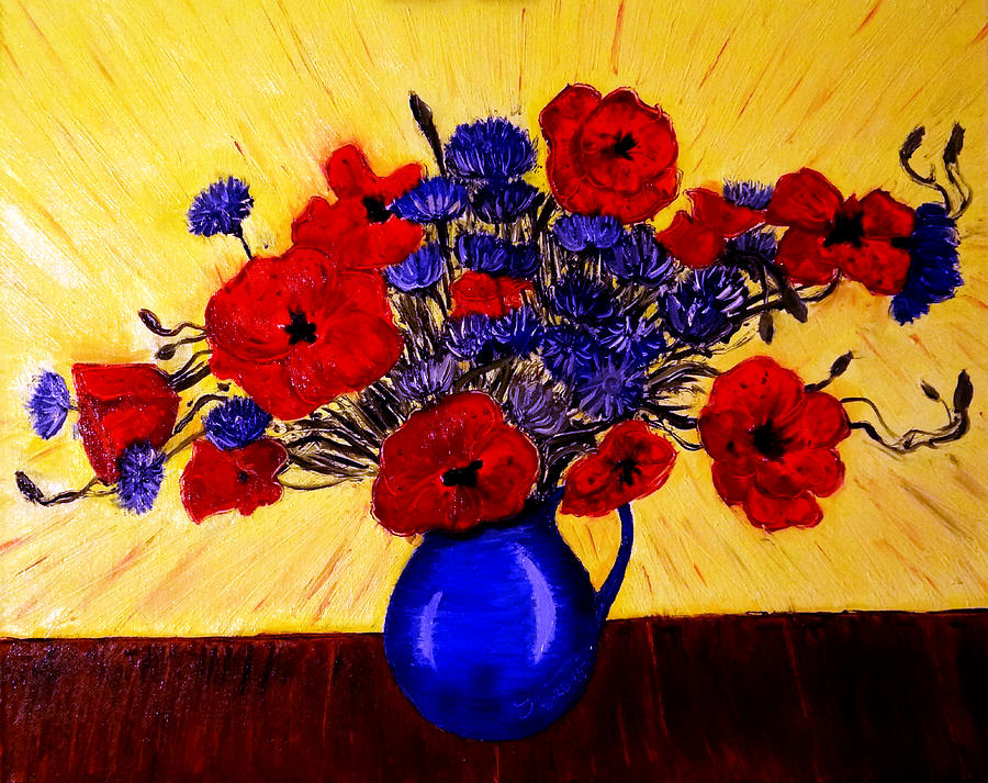 Still Life - Blue Vase With Poppies And Cornflowers Drawing