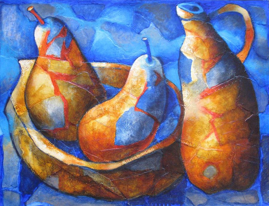 Still Life Mixed Media - Still Life Blue With Pears by Antonio Nunez