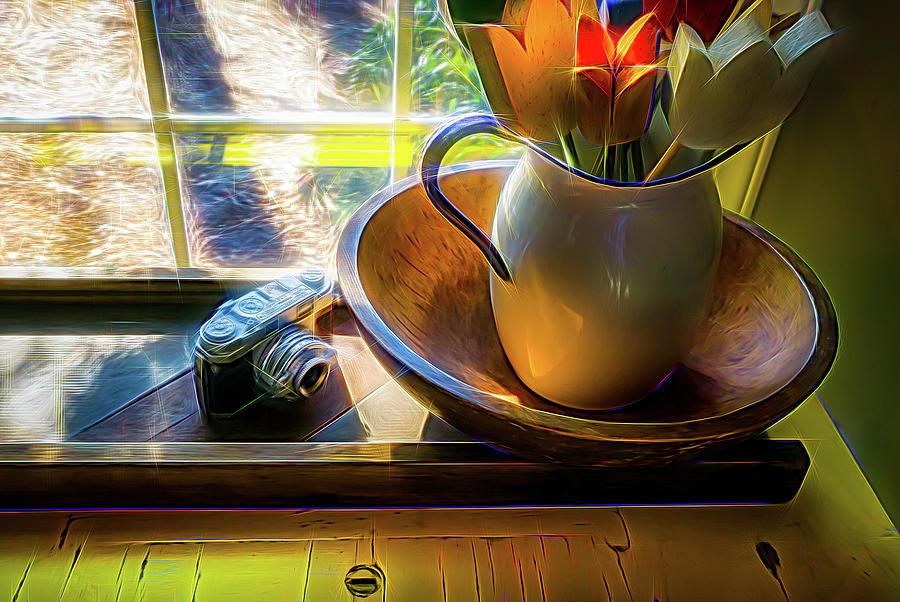 Horizontal Digital Art - Still Life By Window by Robert Meyerson