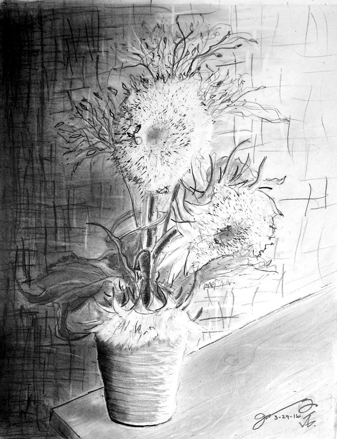 Still Life - Clay Vase With 3 Sunflowers Drawing