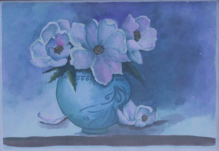 Wild Rose Plant. Still Life, Flowers In A Vase. Blue Colors Background. Painting