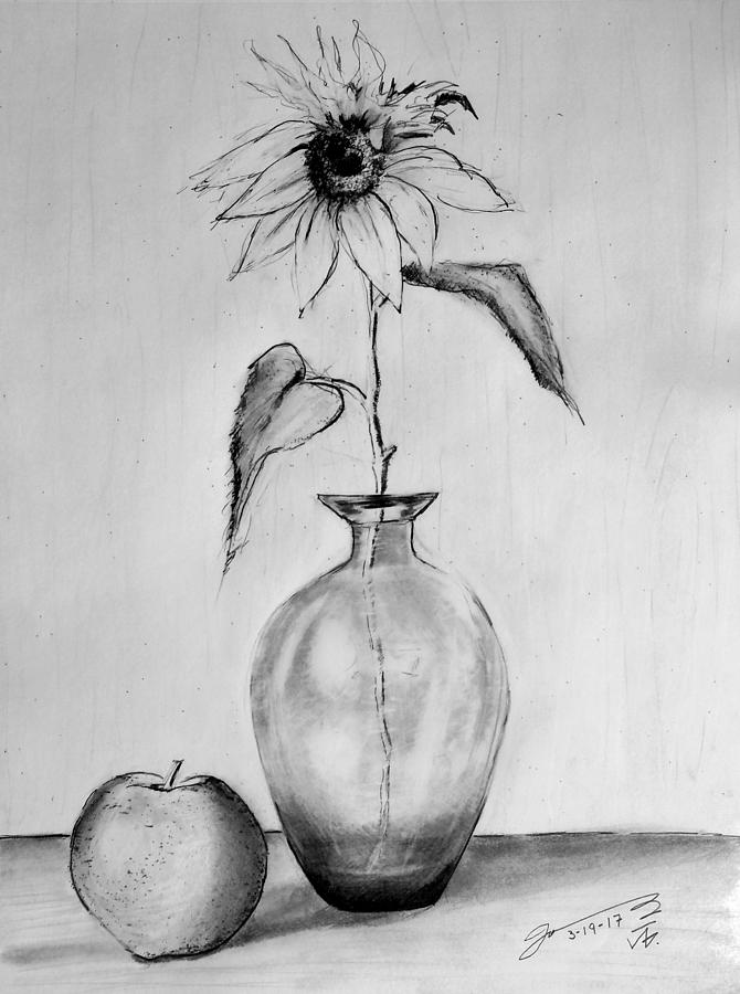 Still Life - Glass Vase With One Sunflower And One Apple Drawing
