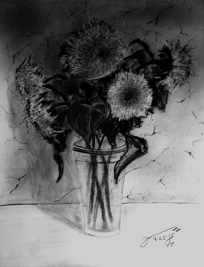 Still Life - Glass With 5 Teddy Bear Sunflowers Drawing