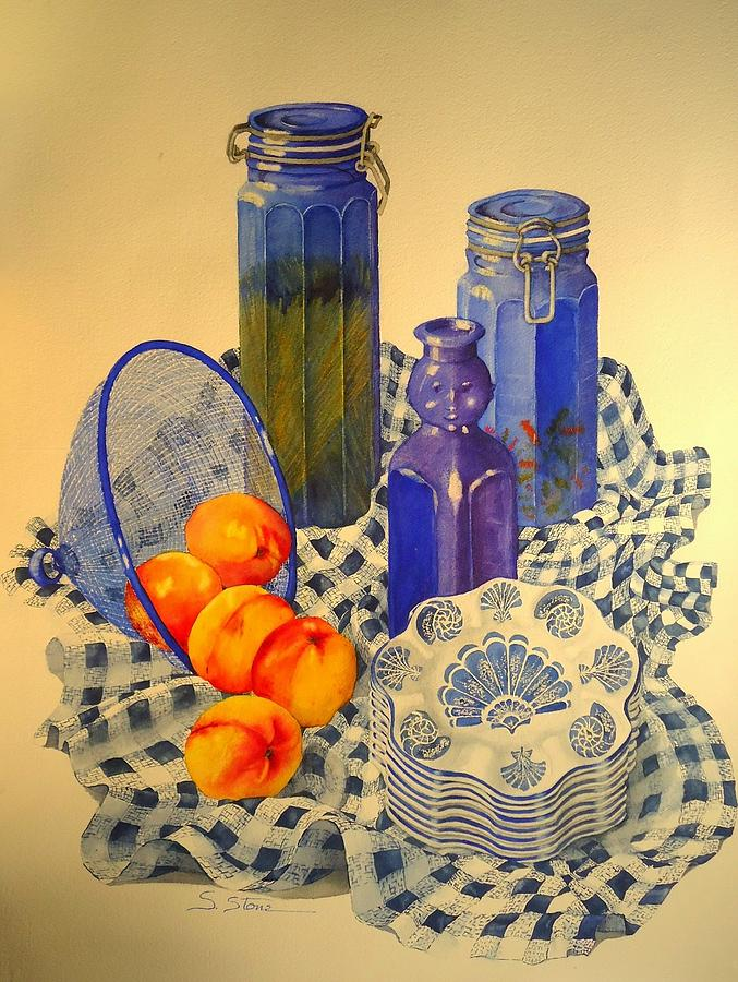 Still Life Painting - Still Life in Blue With Nectarines by Sandra Stone