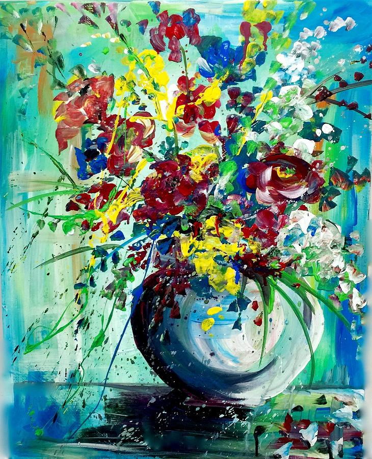 still life in primary colors painting by dottie mabry