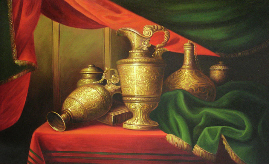 Still Life Iranian Vases Painting By Unknown