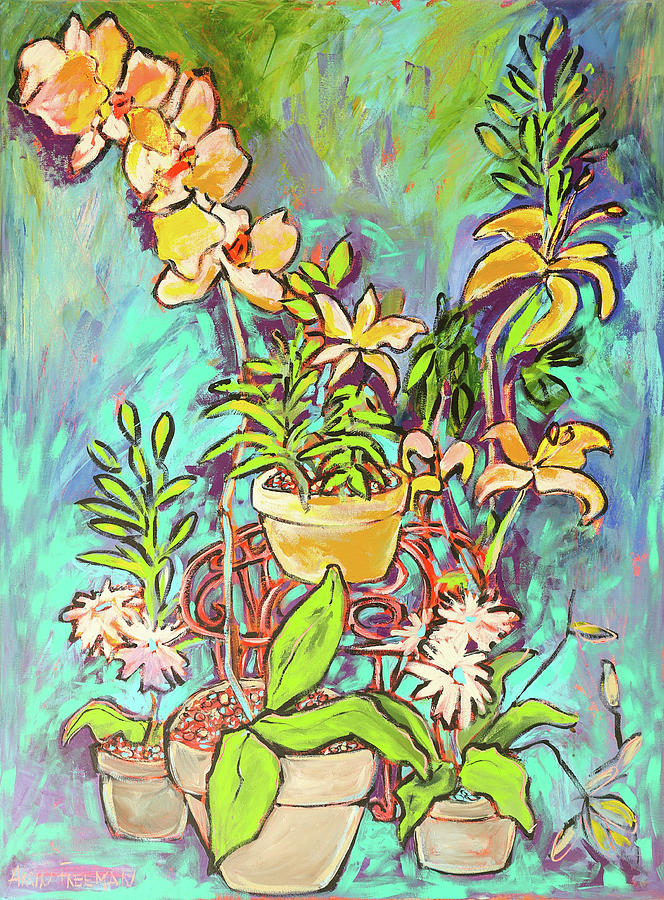 Lilys Painting - Still Life Of Flowers by Arrin Burgand