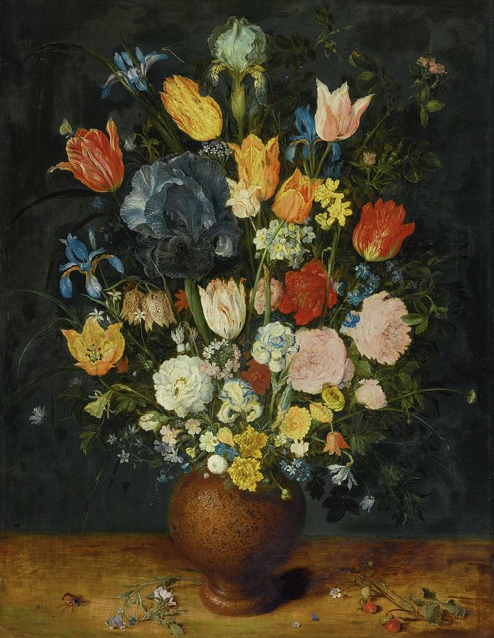 Painting Painting - Still Life Of Flowers In A Stoneware Vase by MotionAge Designs