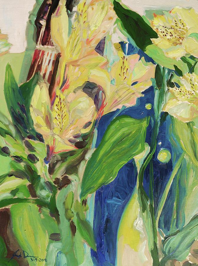 Alstroemerias Painting - Still Life of Alstroemerias by Joseph Demaree