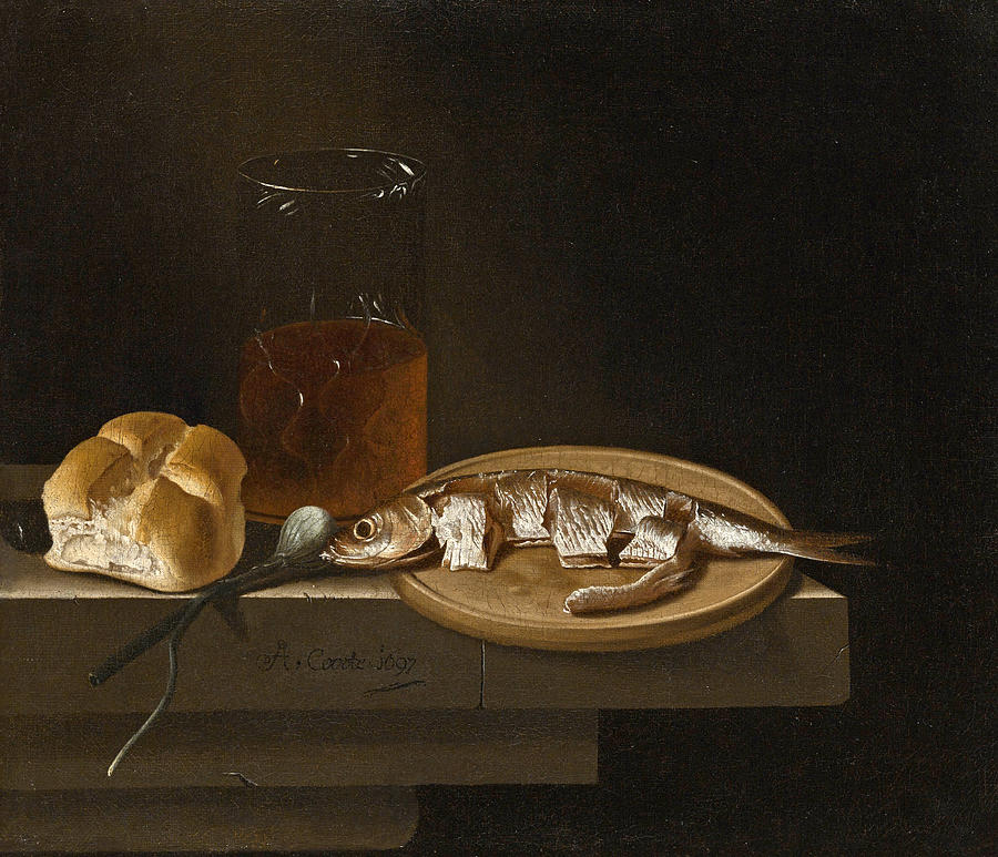 Still life of Herring on a Plate with a Bread Roll a Glass of Beer and an Onion Painting by Adriaen Coorte