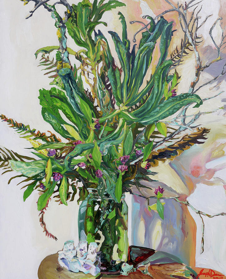 Oil Painting - Still Life of Kale, Fallen Twigs and Other Things that Survived The Storm by Joseph Demaree