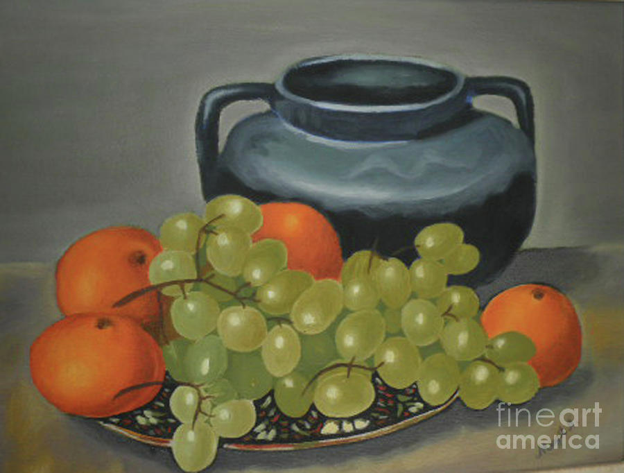 Still Life Painting - Still Life Of Oranges And Grapes by Margit Armbrust