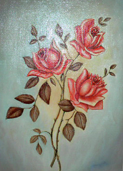 Oil Painting Painting - Still Life Of Pink Roses by Margit Armbrust