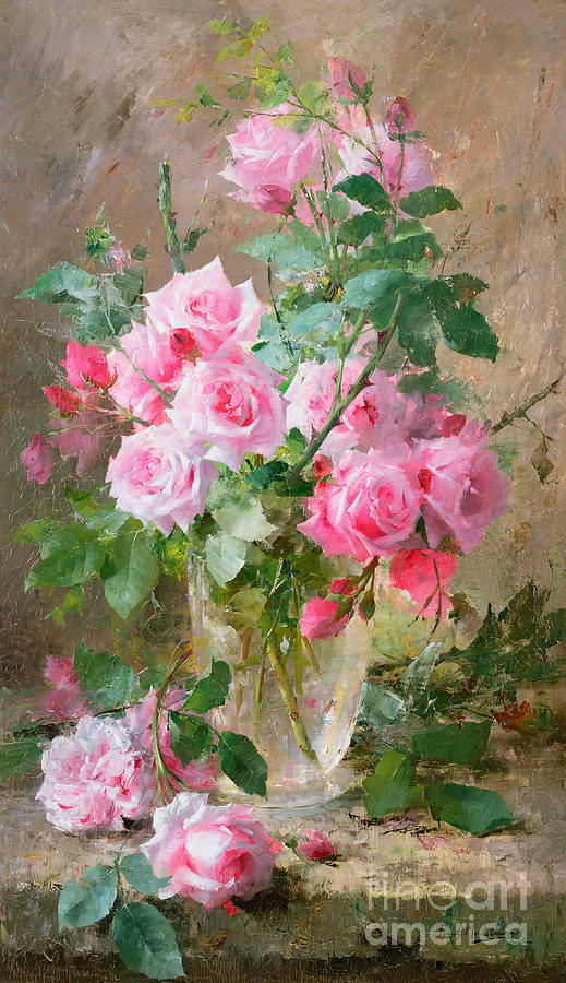 Still Life Of Roses In A Glass Vase Painting By Frans Mortelmans