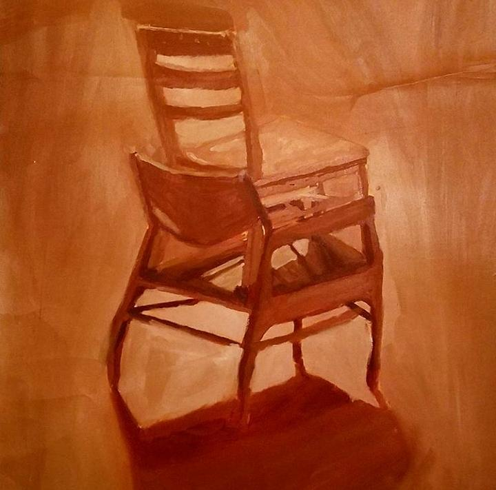 Still Life Painting   Still Life Oil Painting Home Decor Chairs  Monochromatic Fine Art By William