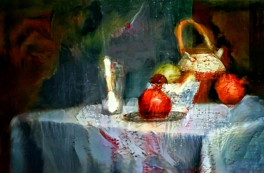 Still Life Painting - Still Life Oil Painting Table With Pomegranate Ceramic Kettle Glass Knife And Bowl Of Fruit Pears Linen Sketch Painting Life Drawing by MendyZ