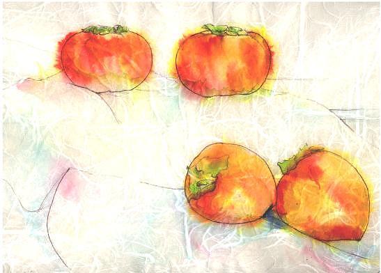 Persimon Painting - Still Life On Rice Paper  10 by Richard Bulman