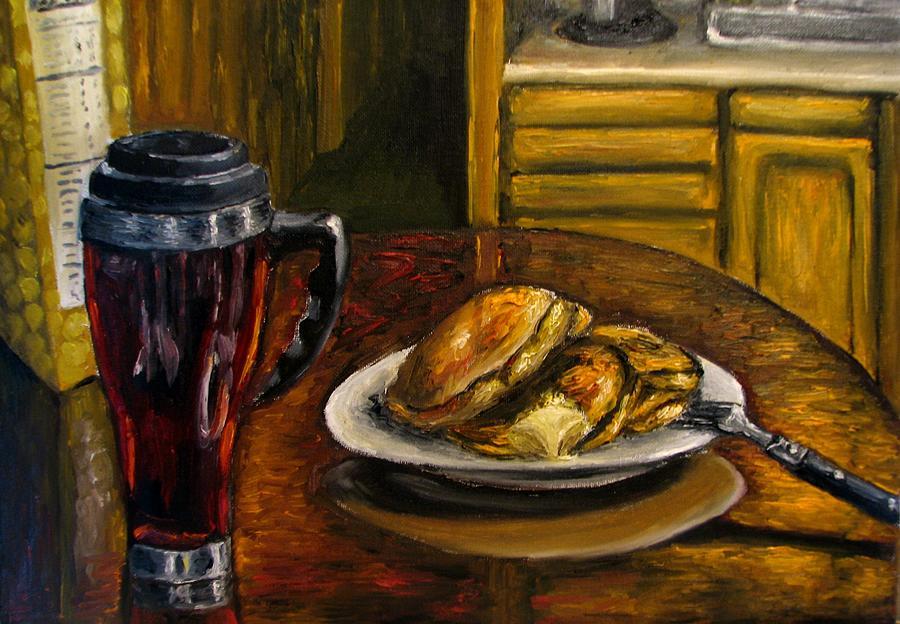 Still Life Painting Painting - Still Life Pancakes And Coffee Painting by Natalja Picugina
