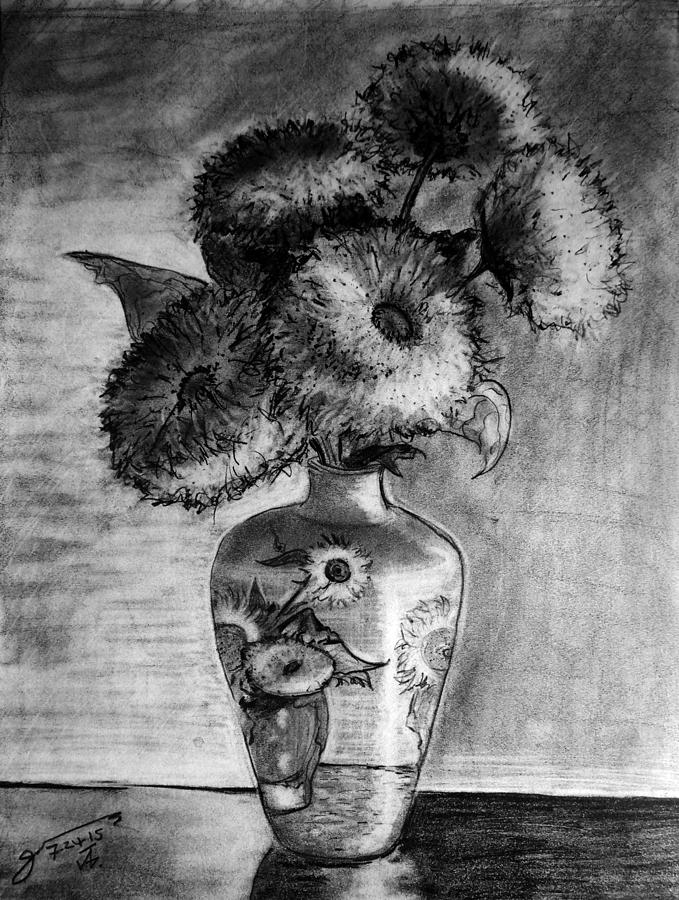 Still Life - Van Gogh Ornamented Vase With 5 Teddy Bear Sunflowers Drawing