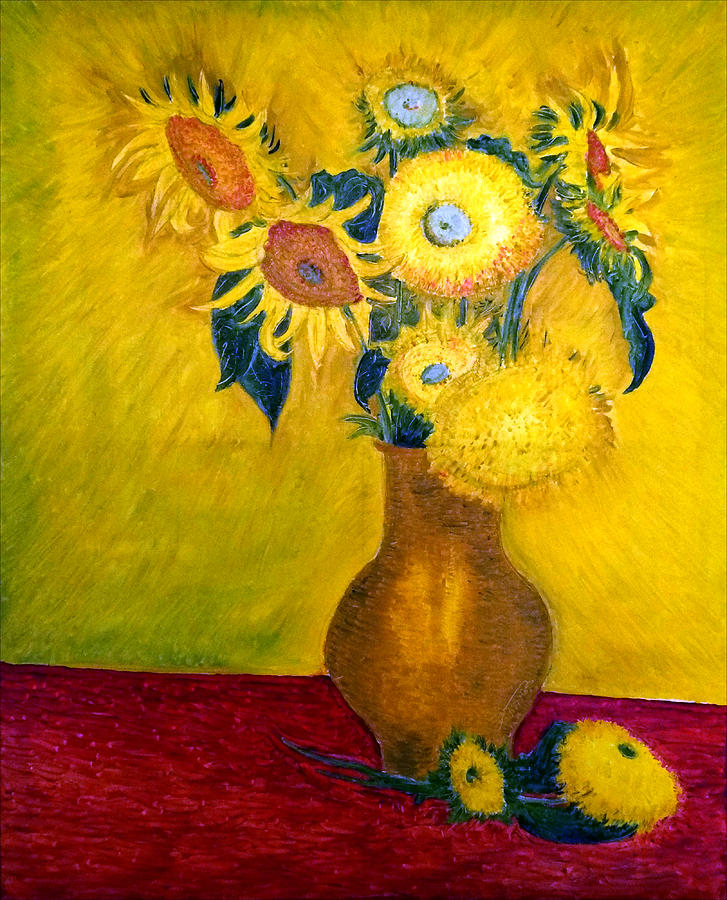 Still Life - Vase With 10 Sunflowers Drawing