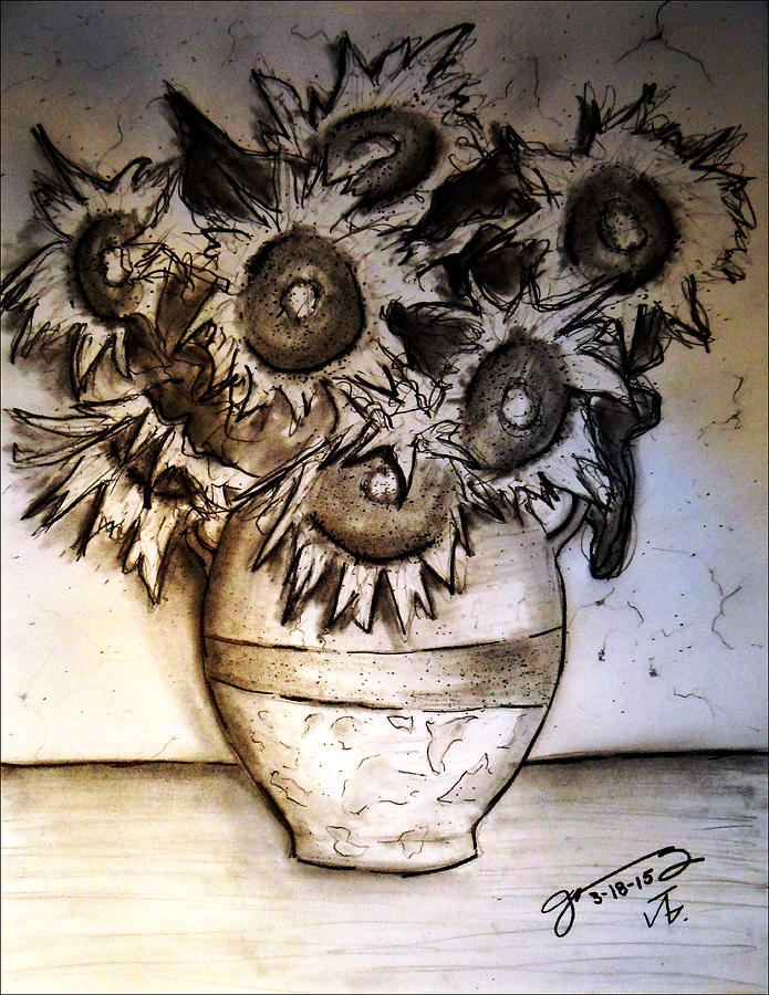 Still Life - Vase With Seven Sunflowers Drawing