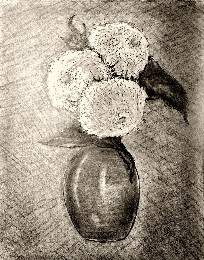 Still Life - Vase With Three Teddy Bear Sunflowers Drawing