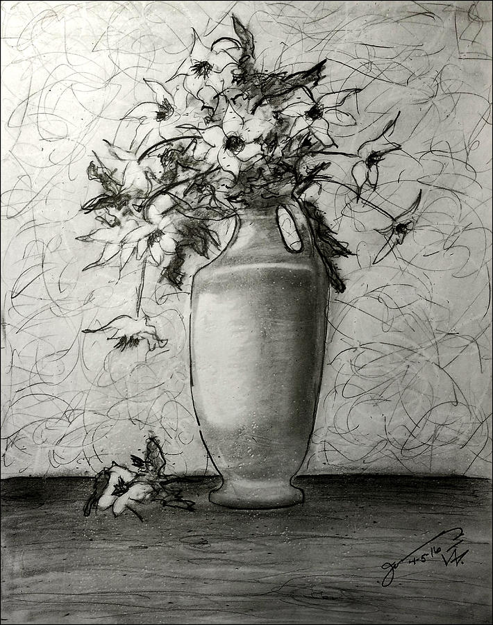 Still Life - Vase With White Flowers Drawing