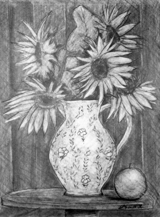 Still Life - White Pitcher With 5 Sunflowers Drawing