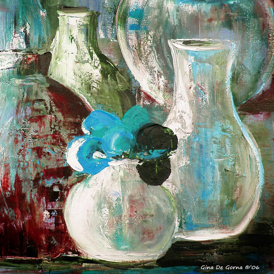 Still Life Painting - Still Life With A Blue Flower by Gina De Gorna