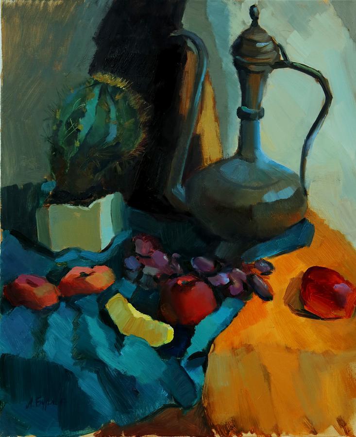 Cactus Painting - Still Life With A Cactus by Alina Burlakova