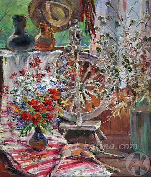 Still Life Painting - Still Life With A Distaff by Babak Vycheslav