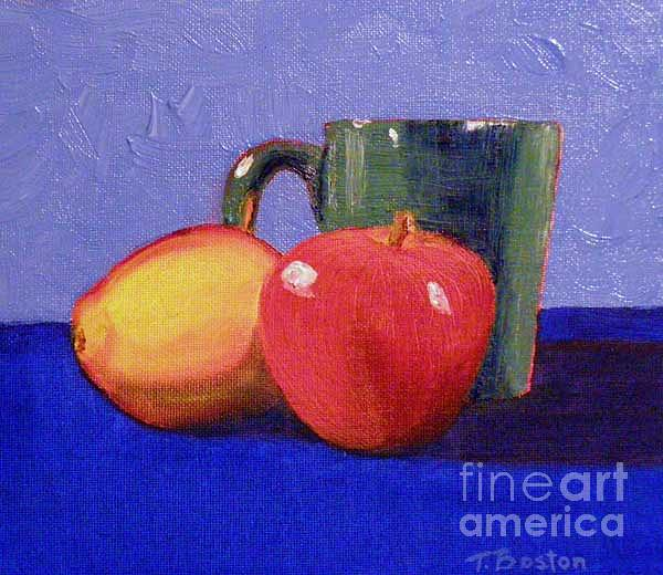 Mug Painting - Still Life With A Green Mug by Teresa Boston
