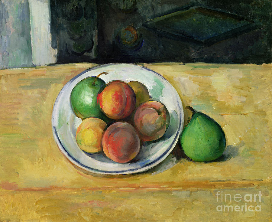 Still Painting - Still Life with a Peach and Two Green Pears by Paul Cezanne