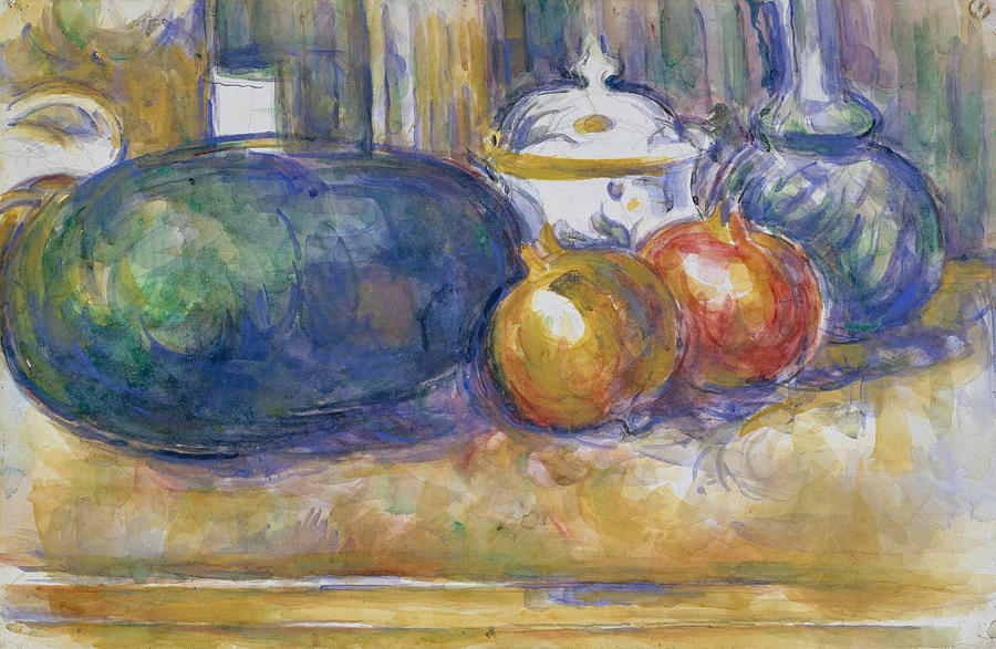 French Painters Drawing - Still Life With A Watermelon And Pomegranates by Paul Cezanne