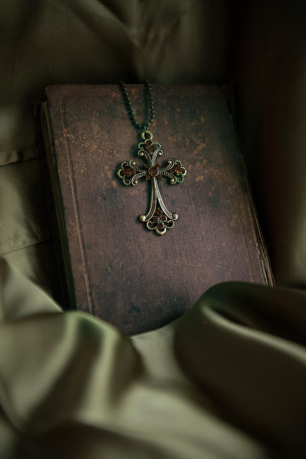 Book Photograph - Still Life With An Old Book And Cross Pendant by Jaroslaw Blaminsky