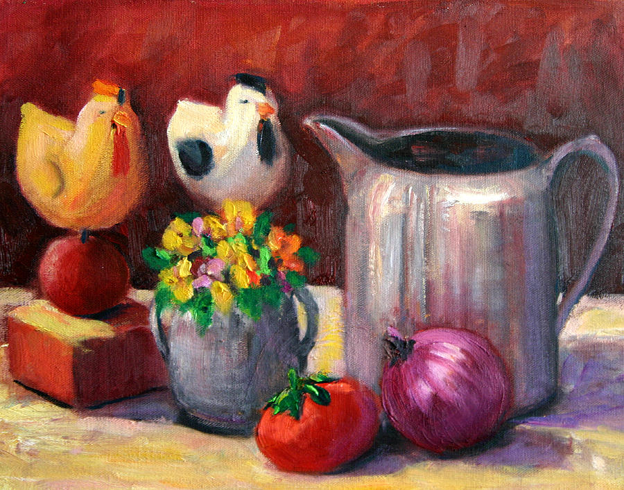 Still Life Painting - Still Life With  Antique Chickens by Lucy Williams