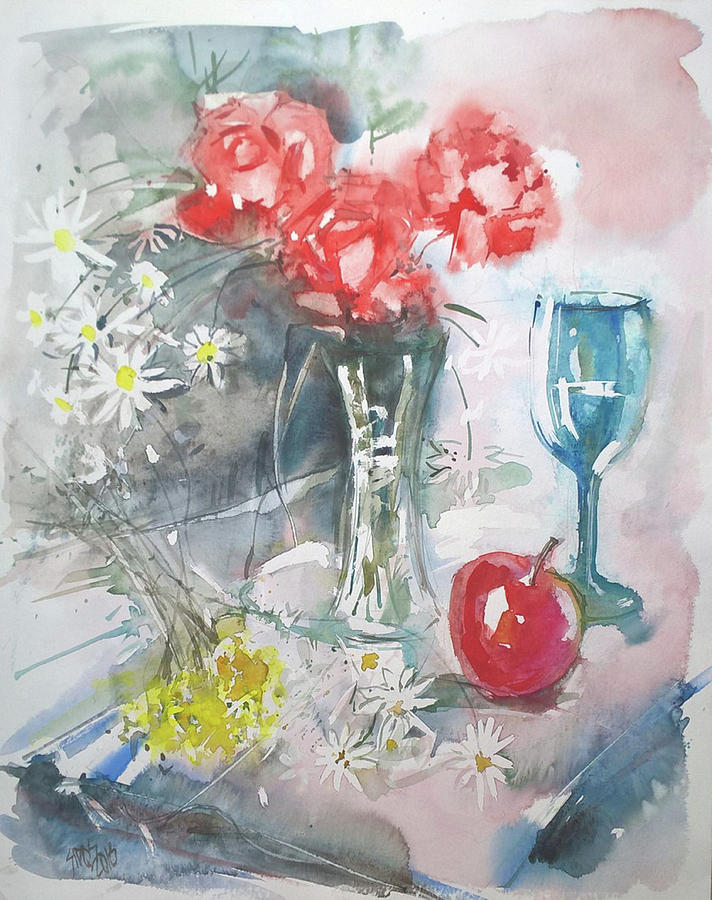 Still Life With Apple And Flowers Painting