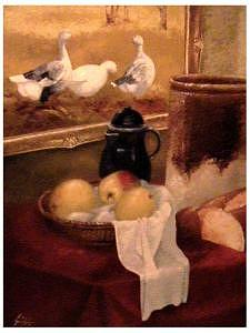 Still Life Painting - Still Life With Apples And Geese by Gordon Sage
