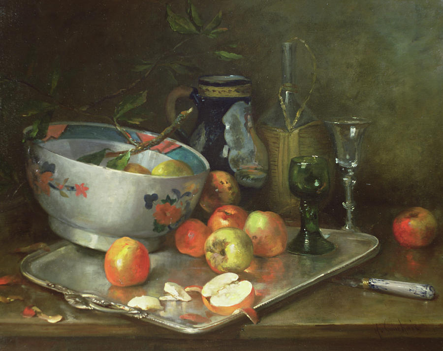 Fruit Bowl Painting - Still Life With Apples by Eugene Henri Cauchois