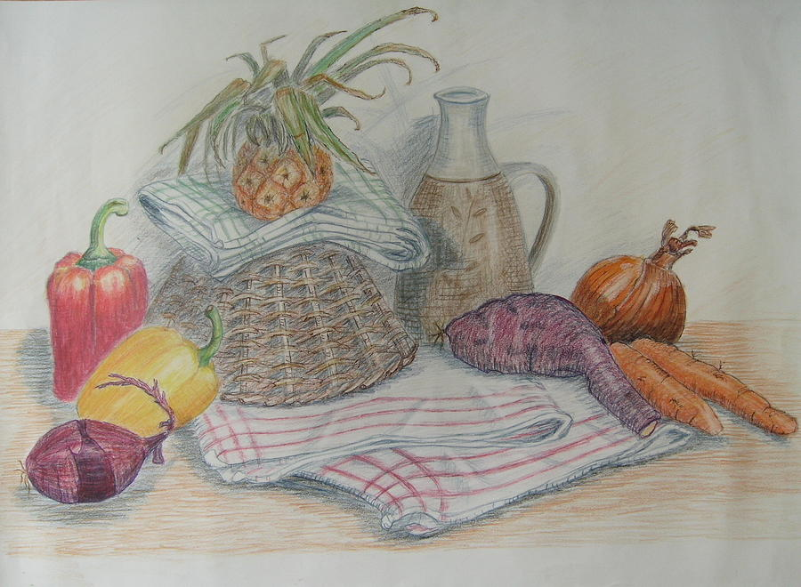 Still Life Painting - Still Life With Baby Pineapple by Geraldine Leahy