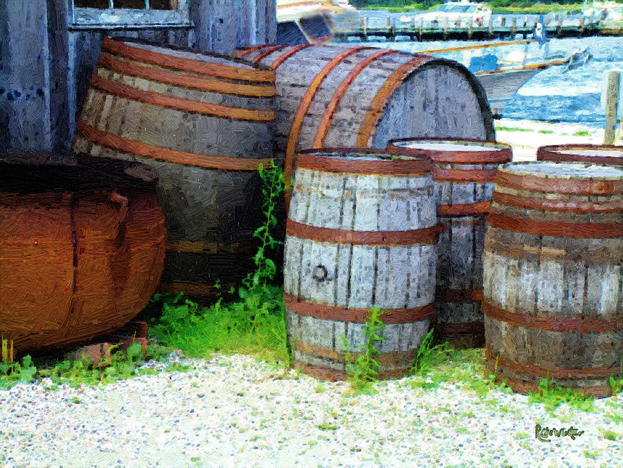 Antique Painting - Still Life With Barrels by RC DeWinter