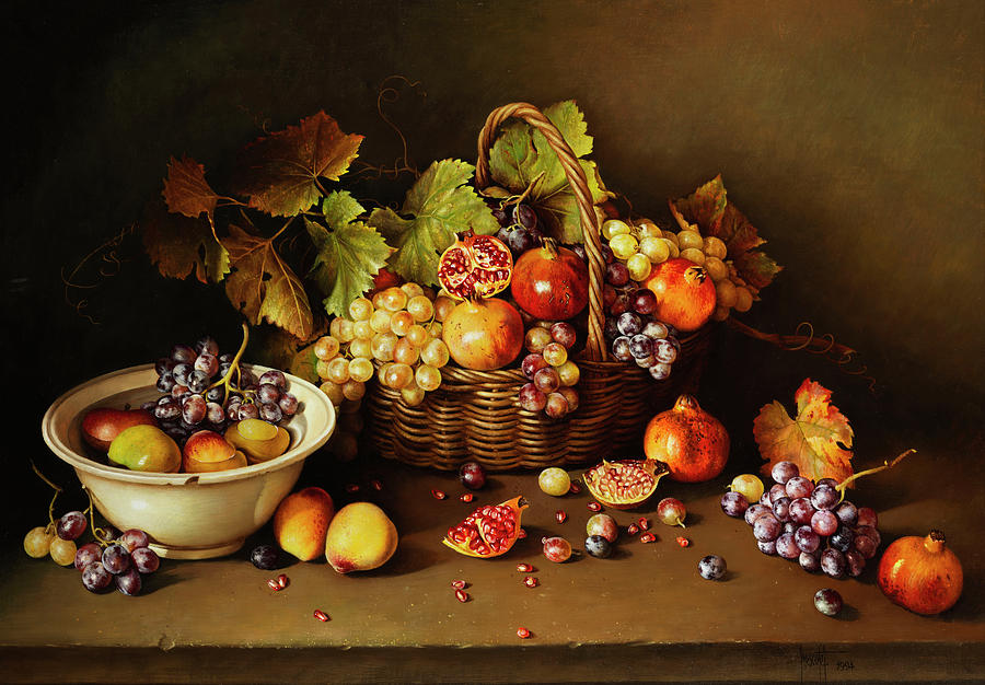 Jan Van Huysum Painting - Still Life With Basket And Pomegranate by Jose Escofet